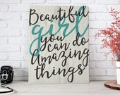 Beautiful Girl -  Gallery Wrapped Canvas | Inspirational Home Decor | Canvas | Typography Wall Art | Print Canvas | Girl Decor