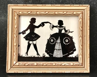 Vintage Silhouette in Carved Wooden Frame Victorian Man and Woman Victorian Couple Silhouette