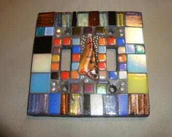 MOSAIC LIGHT SWITCH Cover - Wall Plate, Wall Art, Home Decor, Multicolored, Art Glass