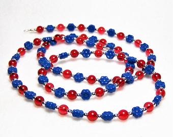 Red and Blue Eyeglass Chain, Eyeglass Holder, Eyeglass Necklace, Lanyard