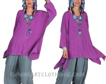 SunHeart BOHO LILAC TOP hippie chic One Size fits small medium large extra large 1x 2x 3x 4x