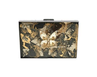 Butterly RFID Metal Wallet Inlaid in Hand Painted Black and Gold Rutilated Quartz Inspired Enamel with Color and Personalized Options