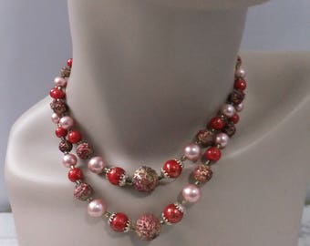 Vintage Choker Necklace Double Two Strand Plastic Beads Red Pink Gold Stamped Japan Gold Tone Costume Jewelry