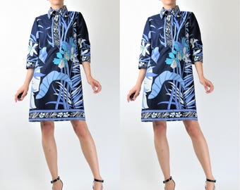 60s 70s Pucci Style Dress Psychedelic Print Dress Iris Navy Blue Floral Dress Secretary Shirtdress Knee Length Collared Sleeves (S) E7071