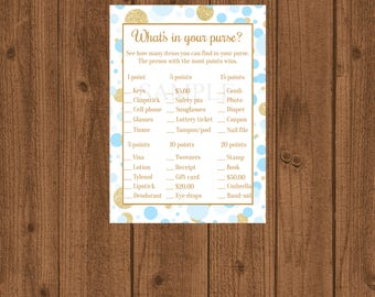 Blue and Gold Baby Shower, Blue and Gold What's in Your Purse, Baby Shower Game, Boy Baby Shower, Purse Baby Shower Game, Instant Download