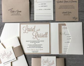 Rustic Wedding Invitation, Ivory Pocketfold, Kraft Paper Invitation, Modern Wedding Invitation, Square Invitation, Belly Band, Rustic