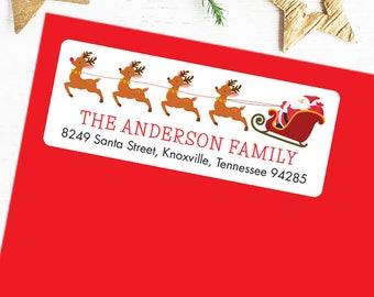 Christmas Address Labels - Santa, Reindeer and Sleigh - Sheet of 30