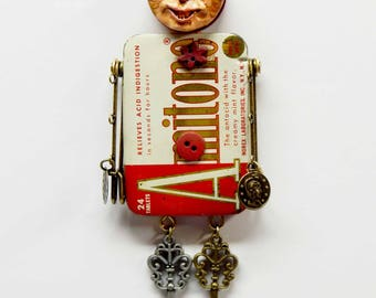 Mixed Media Assemblage Art Doll Magnet Amitone Antacids