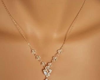 Rose gold crystal Wedding Necklace, backdrop crystal necklace set,  Swarovski element Jewelry - ELLIE