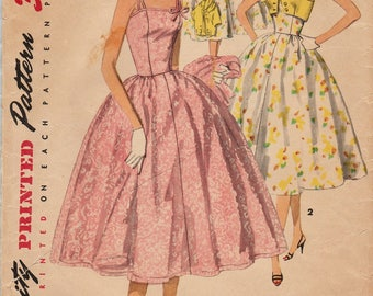 Simplicity 1157 / Vintage 50s Sewing Pattern / Strapless Dress And Bolero Jacket / Size 14 Bust 32