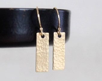Gold Fill Bar Earrings, Tiny Bar Earrings, Small Rectangles, Hammered or Smooth Geometric Minimalist Earrings