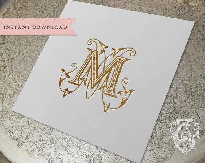 Vintage Wedding Monogram MM Digital Download double M