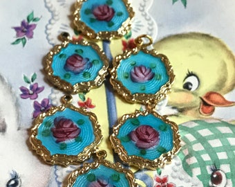 Sarah Coventry vintage Guilloche charms, gilded,enamel Charms,Enameled Charms,Floral Charms,enameled connectors, Shabby chic Charms G16J