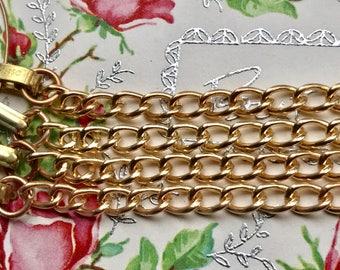 """10 Vintage CHARM Bracelets Lot """"STARTER"""" LOT, Sarah Coventry, Gold Plated Brass, Charm bracelet lot, blank Bracelets,Empty Bracelets,G42"""
