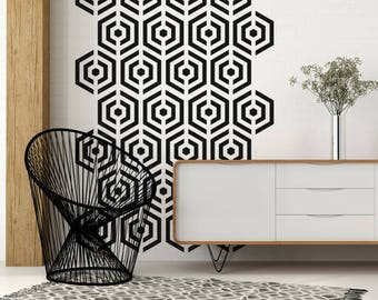 Mid Century Decals, Hexagon Wall Decal, Hexagon Wall Art, Geometric Wall Decal, Apartment Therapy, Decor for Kids, Modern Nursery Decor