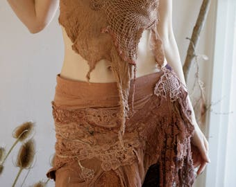 Dusty rose festival burning man fae costume piece, whimsical mini skirt