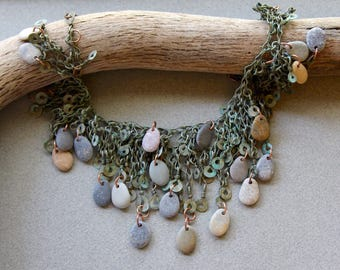 Sea Pebbles in Seaweed Necklace Small Natural Beach Pebble Dangles on Vintage Kuchi Brass Chain w Verdigris Patina Beach Ocean Jewelry