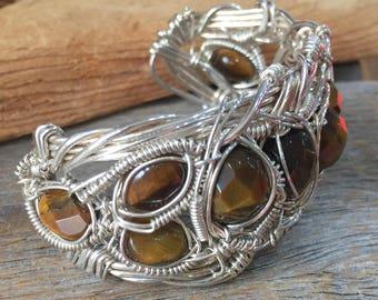Tiger Eye & Sterling Silver Cuff Bracelet
