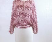 Vintage 1980s Pink Sequined Blouse Size Large