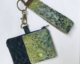Batik Key Chain - Coin Purse - Blue Tooth Case with Wristlet - Key Fob - Ready to Ship - Order with Any Accent Color