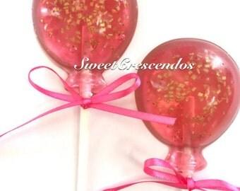Gold Confetti Balloon Lollipops- Birthday Lollpops- Kids Party Favors