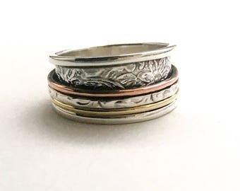 spinner rings, fidget spinner ring, fidget rings, worry rings, meditation rings, mixed metal rings, one of a kind rings