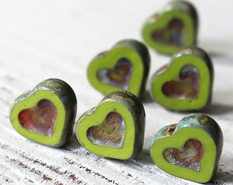 Czech Glass Heart Bead - Jewelry Making Supply - 12x14mm - Olive Green Picasso Beads - Choose Amount