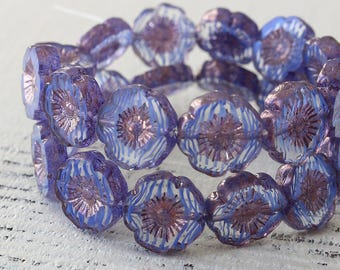 12mm Flower Beads - 12mm Hibiscusi Flower Beads - 12mm Pansy Beads - For Jewelry Making - Jewelry Supplies -  Blue Stripe - Choose Amount