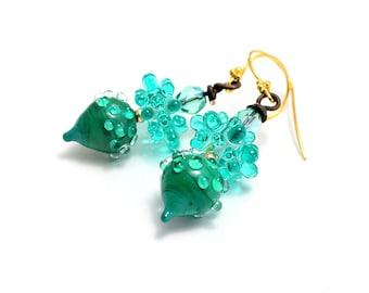 Teal Lampwork Bead Earrings. Small Dangle Drop Earrings. Artisan Urchin Beads. Boho Gypsy Earrings. Gifts For Her. Glass Bead Jewelry.