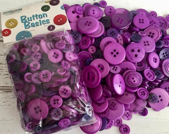 """Purple Violet Buttons, Packaged Round Button Assortment, 5 oz bag, """"Grape Juice"""" #BCB109 Buttons Galore, Sewing, Crafting, Embellishments"""