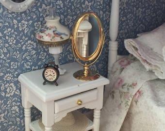 Miniature Mirror, Table Top Brass Look Mirror, Vanity Mirror Dollhouse Miniature, 1:12 Scale, Mini Mirror, Dollhouse Accessory, Decor