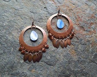 Antiqued copper and blue mother of pearl statement earrings - chandelier earrings - mermaid jewelry - teardrop earrings - boho blue jewelry