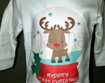 Boy's Christmas Shirt, Personalized Snowglobe Shirt, Boy's Snowglobe shirt,Reindeer snowglobe shirt,1st christmas shirt,boys first christmas