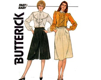 80s Womens Pleated Skirt & Culottes Butterick 4554 Vintage Sewing Pattern Size 12 14 Waist 26 1/2, 28 inches