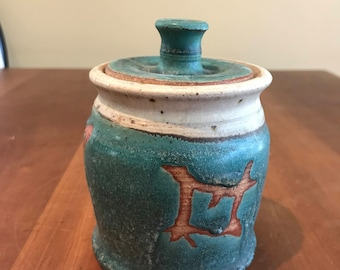 Turquoise pottery Covered jar/sugar bowl