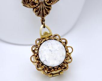 White Opal Locket Necklace, 4 Photo Locket Necklace, 4 Picture Locket, Antique Brass Opal Necklace,  Four Way Locket, Filigree, Victorian