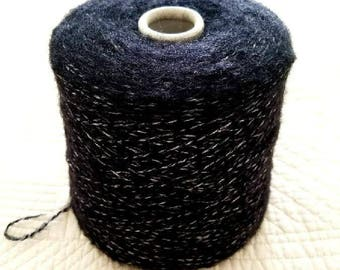 Italian hand and machine knitting yarn cone Baby Alpaca Merino Wool Cotton Thick Gauge black with white core Lanificio Dell'Olivo