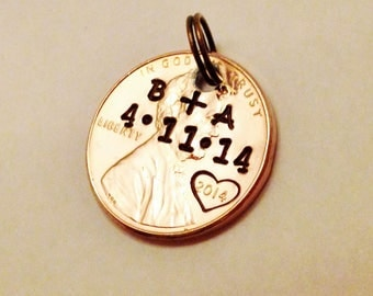 Personalized Anniversary Gift: Custom Penny Charm Pendant, Couples, Wedding Gift; Your Initials, Date, Heart; Hand Stamped 1959-2018 PENNY