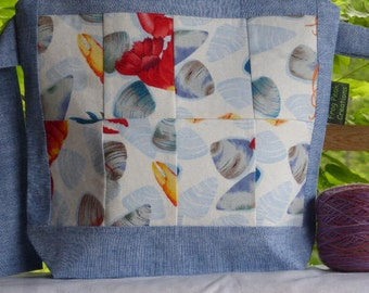 Quilted Crustateans (1) - Wedge - zippered, cosmetic, knitting/crochet project bag
