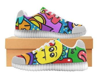Graffitti Art LED Light Up Shoes | Boys Girls Womens Sizes | High Stretch Upper | EVA + Mesh Fabric Insole | 7 Colors | Bold Street Design