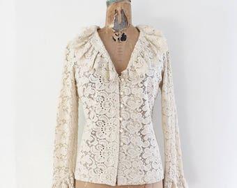 Lace Poet Blouse - Vintage 1970s Blouse Size Medium - Pirate Blouse Ivory Cream White - Hippie Boho Chic Festival Romantic