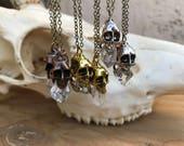 Quartz Crystal Skull Necklace/ Skull Pendant/ Gold Skull Pendant/ Crystal Skull Necklace/ Natural Gem Stone/ Danity Jewelry/ Crystal Healing
