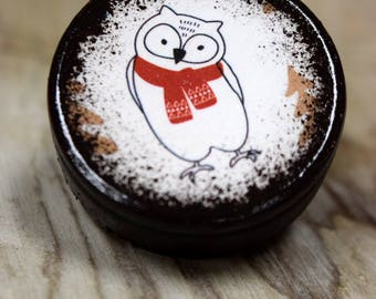 Owl In Scarf Pill Box, Small Pill Box, Christmas, Winter, Red Scarf, Wooden Boxes , Ring Box, tooth fairy box, Stocking Stuffer