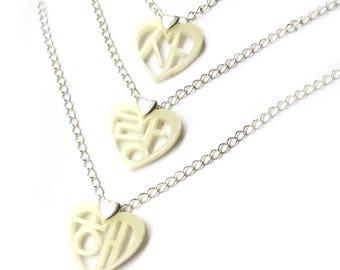 Korean Hangul I Love You Necklace (Sarang hae) Black Ivory 3 Tier, Wedding Gift For Her, Korean Adoptee Earrings, Korean Anniversary Present