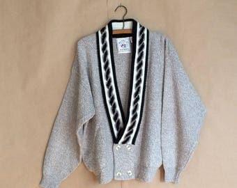 SALE!  vintage 80's 1980's loose fit knit sweater / cardigan sweater / HOOPLA / retro / deadstock / nos / late 80's streetwear