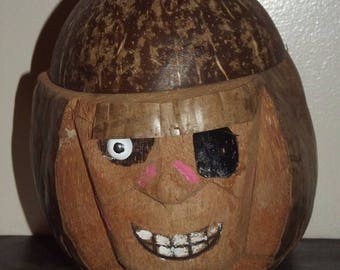 Souvenir Carved Coconut Pirate Head Coin Bank