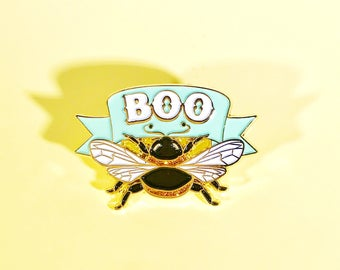Boo Bee soft enamel pin with glitter highlights!