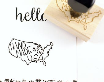 Shop Exclusive - Handmade in the USA rubber stamp - hand lettered stamp with USA outline - small business stamp