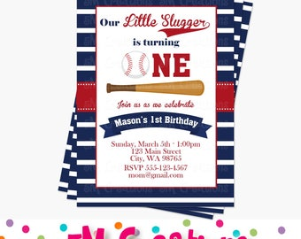 Baseball Birthday Party Invitations - Baseball Party Printable Invitation - Sports Party Digital Printable Invite - First birthday Second