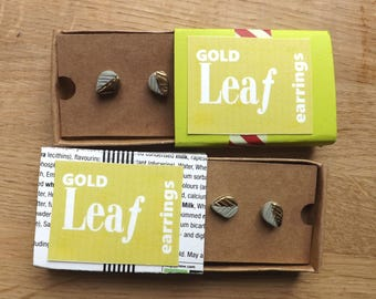 Gold leaf porcelain earrings, ceramic earrings, stud earrings, earrings decorated with gold lustre, quirky earrings, hand made earrings
